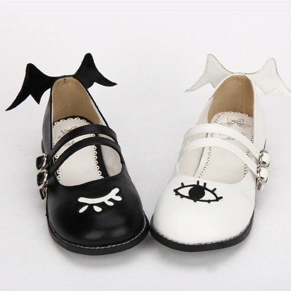 Gothic Gothic Gothic Lolita Punk Eyes Auge Wing Flügel Damen-schuhe Halbschuhe Ballerinas Neu 2c6ac8