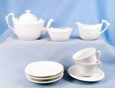 White Porcelain Toy Tea Set Pieces Teapot Sugar Creamer Cups Saucers Swirl