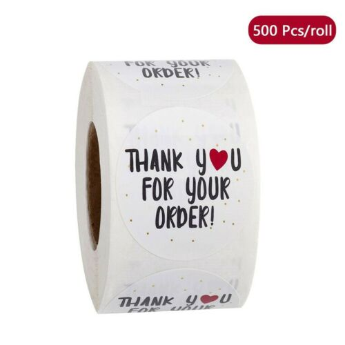 500 Pcs//roll Round Thank You for Your Order Heart Sticker Handmade Seal Labels