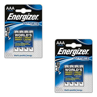 8 Energizer Ultimate Lithium AAA Micro Batterien LR03 AM4 MN2400