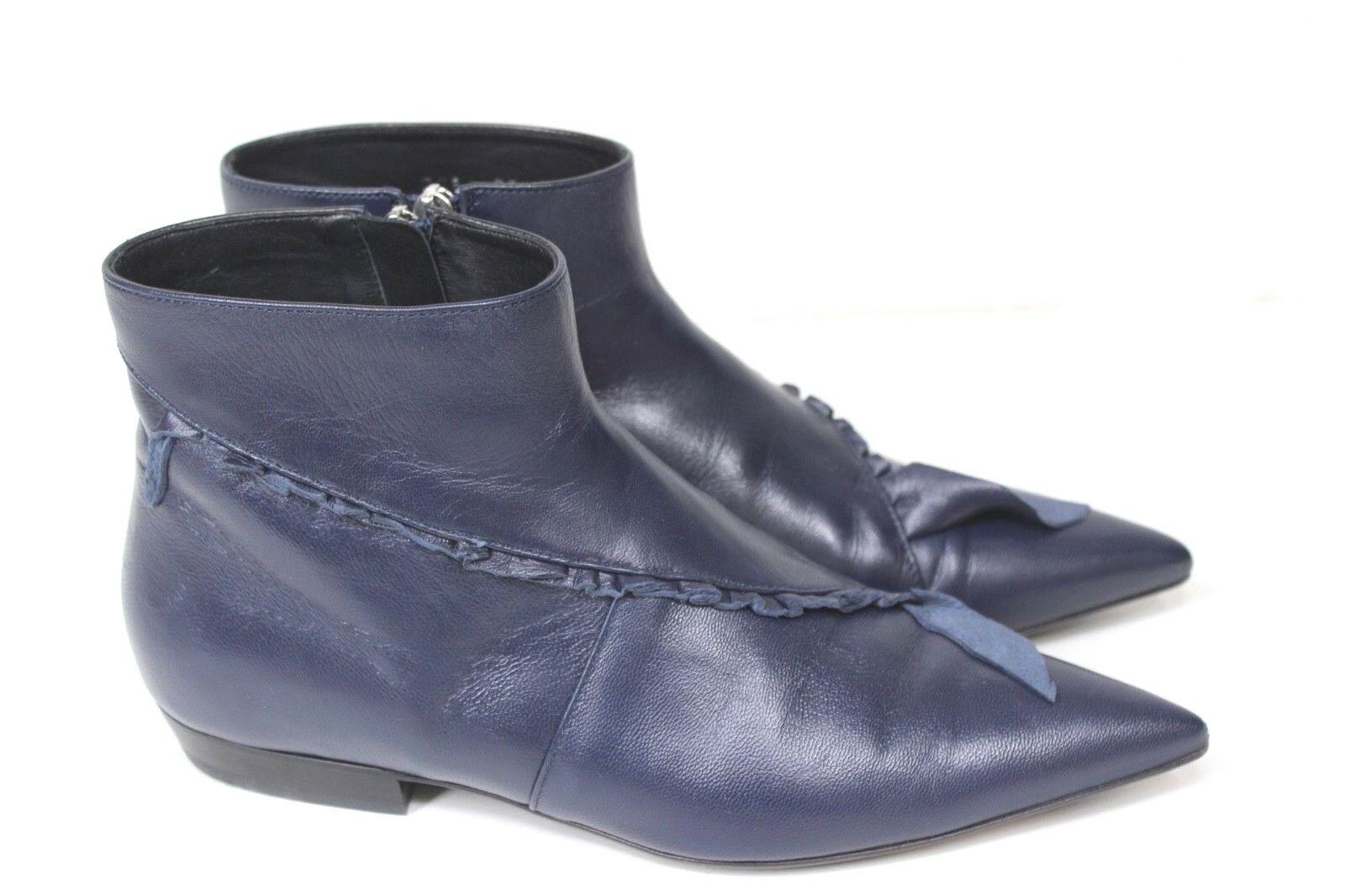 JW Anderson Azul Marino Cuero Con Unido Volantes botas 39 Reino Unido Con 6 caf398