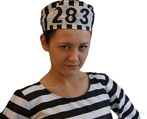 Wimpy//Convict//Robber//Halloween PRISONER NUMBERED HAT Fancy Dress Accessory