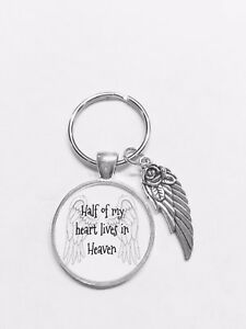Half Of My Heart Lives In Memory Heaven Angel Wing Gift Keychain