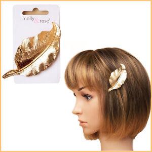 Hair-Barrette-Side-Pin-Clip-GOLD-Bun-Leaf-Grip-Women-Clamp-Metal-Hairpin-Styling