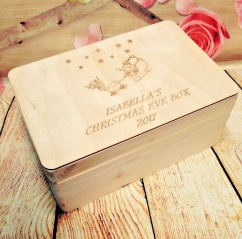 Natural Wooden Personalised Christmas Eve Box Customised Laser Engraved Gift