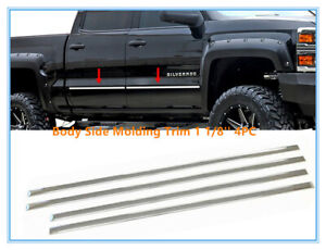 Stainless Steel Window Sill Trims 4PC Fits Chevy Silverado Crew Cab 07-13