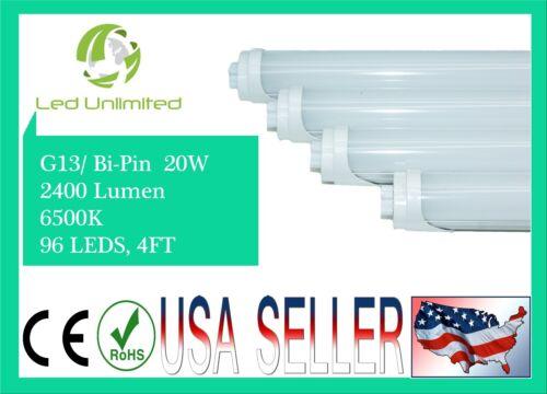 10 PC LED Tube Light Bi-PIN//G13 4FT 20W 6500K Fluorescent Replacement Milky Lens