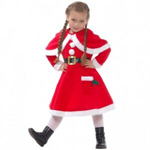 Details About Little Miss Santa Claus Fancy Dress Costume For Girls Christmas Party Outfit