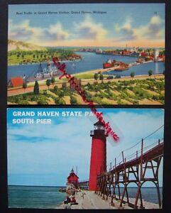 Goodrich Boat Entering Harbor Grand Haven, MI Postcard