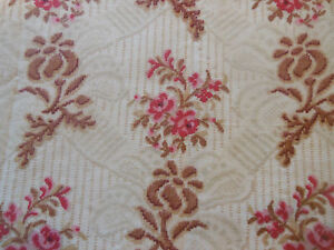 Antique French Marie Antoinette Roses Floral Pattern Cotton Fabric ~ Pink Brown