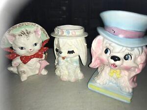 3-Vintage-Ceramic-Head-Vase-Planter-s-Pups-and-Kitty-Relpo-amp-Lefton