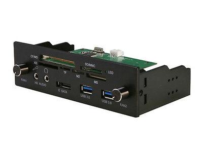 "nMedia ZE-C288 Blk Aluminum 5.25"" Bay Card Reader W/USB3.0/e-SATA/Fan Controller"