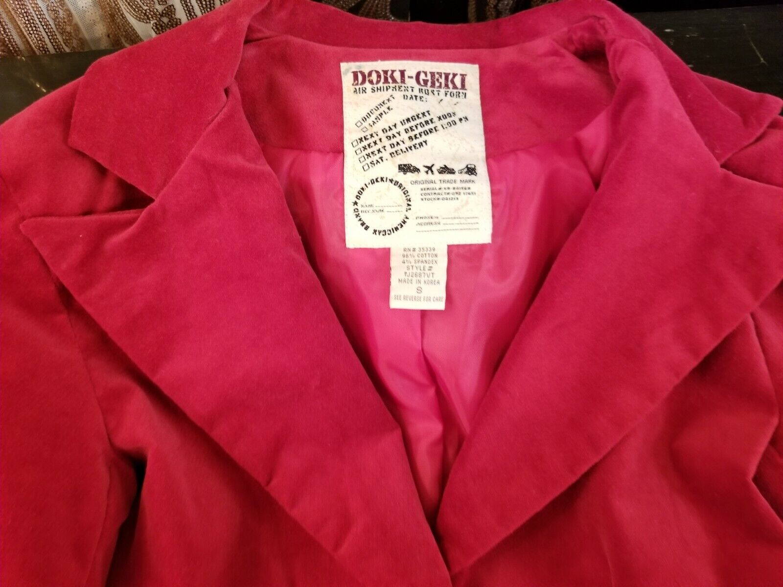 Red Velvet Fitted Blazer Womens Size Small  - image 7
