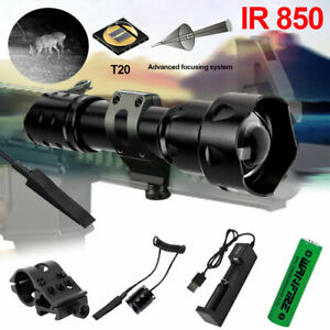 IR 850nm Infrared Flashlight Night Vision Hog Tactical Hunting Torch Scope Mount