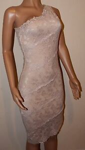 VICKY-MARTIN-nude-beige-lace-fitted-one-shoulder-bodycon-dress-8-10-BNWT-wedding