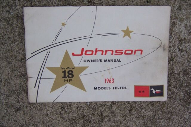 1963 Johnson Sea Horse 18 Hp Fd Fdl Outboard Owner Manual