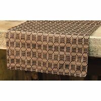 Primitive Country Black & Tan Preachers Knot Coverlet Table Runner 56