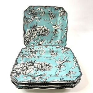 222 Fifth Adelaide Turquoise Salad Plates Set of 4 Square Porcelain Dinnerware