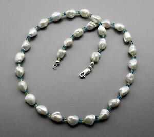 Perlenkette-weisse-Keshi-Suesswasserperlen-mit-Peridot-amp-Apatit-Halskette-46-cm