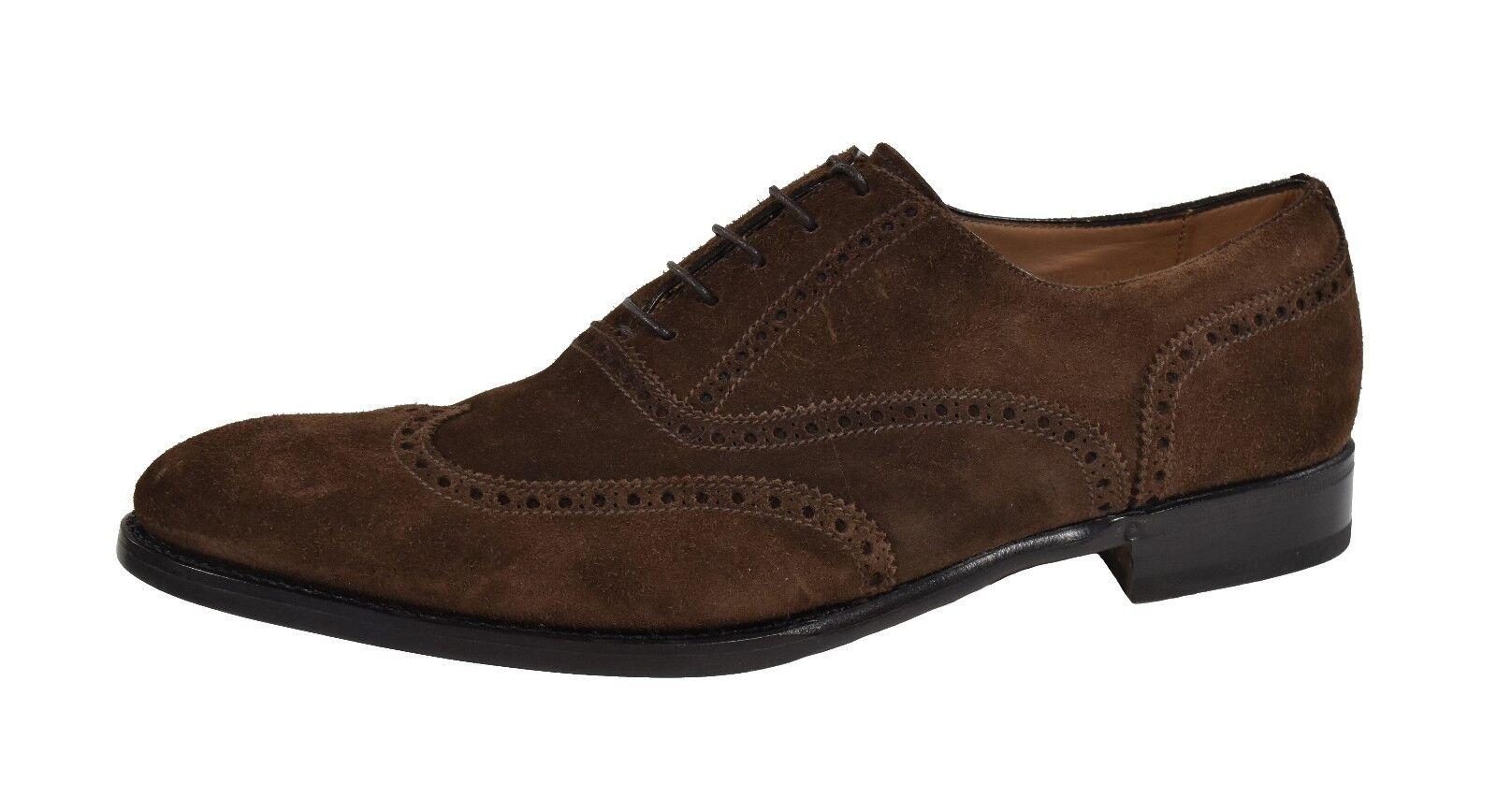 Ralph Lauren púrpura Label marrón gamuza cuero Denley la punta del ala Zapatos Nuevo