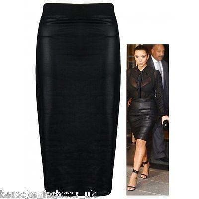 Women Ladies Kim Kardashian Wet Look Elasticate Pencil Bodycon Office Skirt 8-22