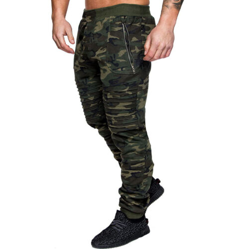 Mens Camouflage Combat Military Army Trousers Slim Fit Sweatpants Skinny Pants