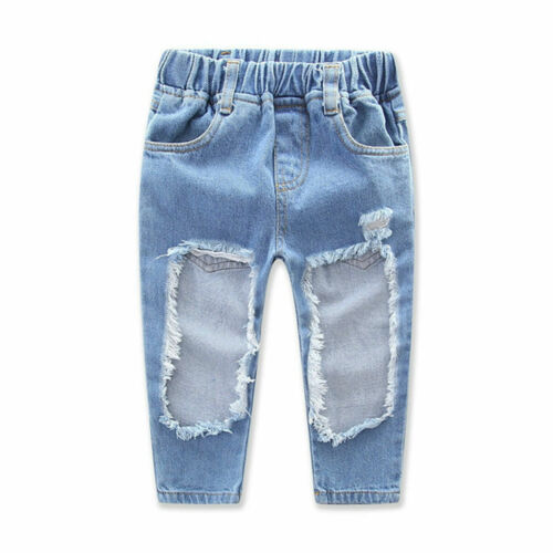 3PCS Kids Baby Girls T-shirt Tops+Ripped Holes Pants Jeans Outfits Clothes Set