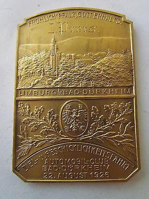 1. Preis Geschicklichkeitsfahrt 1926 Limburg Bad DÜrkheim Plakette Badge Plaque PüNktliches Timing