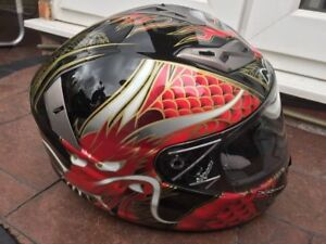 Adult-Nuvo-SP2-Dragon-Motorcycle-Full-Face-Helmet-Red-Black-Clearance-Sale-XL