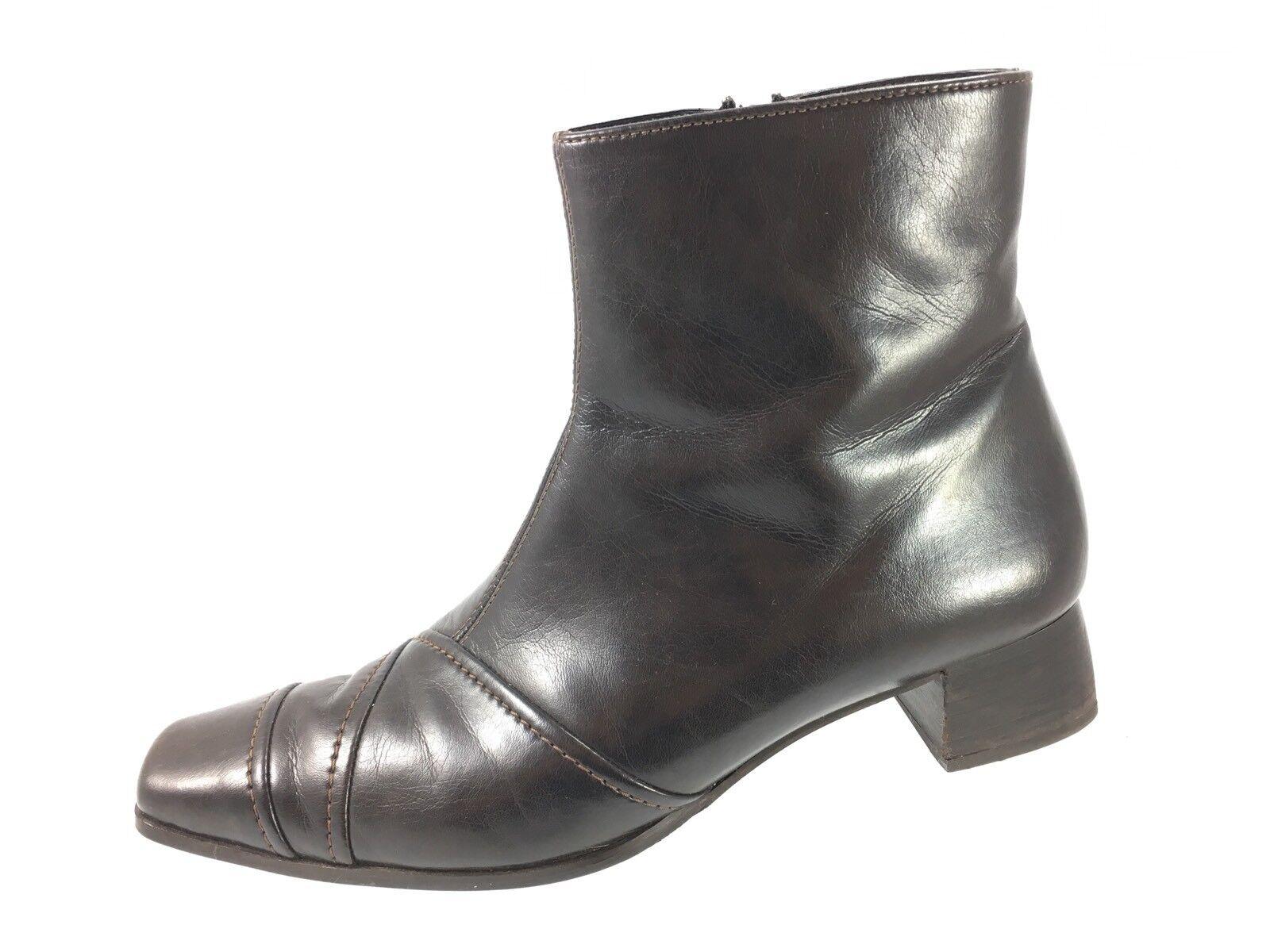 SH6 Paul Grün Munchen 8 UK 5.5 US 8 Munchen Braun Leder Zip Ankle Boot Block Heel c9c536