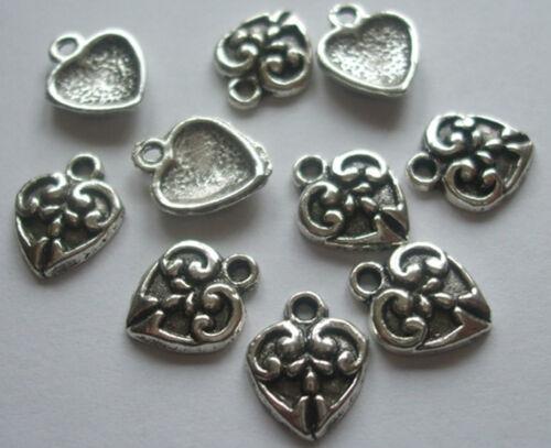 Pequeño corazón encantos 12x10mm Tono Plata Antigua Qty 25 o 50 Crafts hallazgos