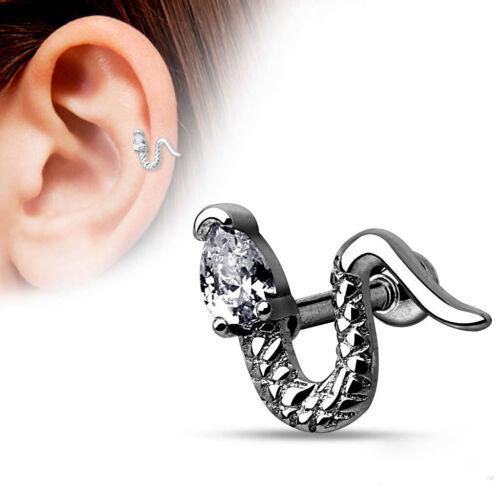 Ohrpiercing Ohrstecker Tragus Cartilage Piercing Schlange Kristall Silber