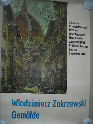 29951 Ausstellungsplakat Wlodzimierz Zakrzewski Malerei 1971 Dresden 80x56cm Die Neueste Mode
