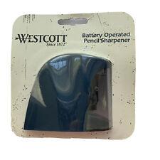 Westcott Battery Operated Pencil Sharpener Desk Table Top Office School Blue New