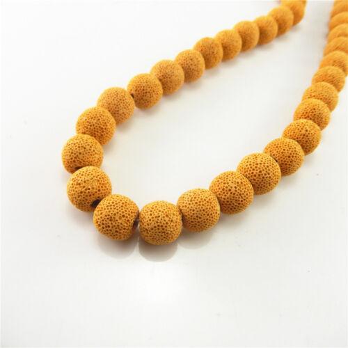 30pcs Couleurs Assorties 12 mm NATURAL Rock Lava Stone Loose Beads À faire soi-même Bijoux Ctaft