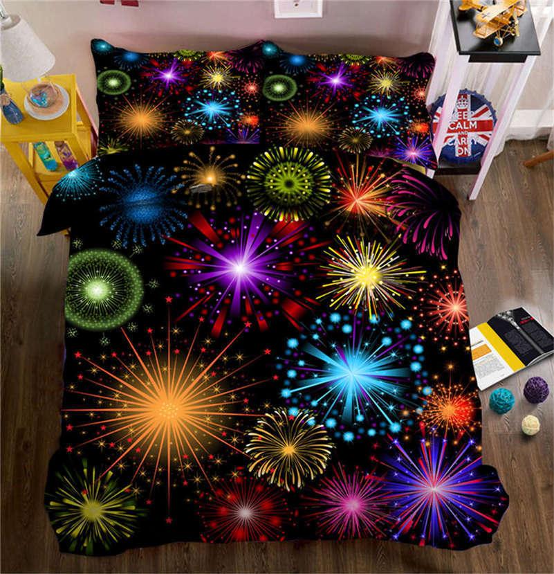 Splendid Fireworks 3D Printing Duvet Quilt Doona Covers Pillow Case Bedding Sets