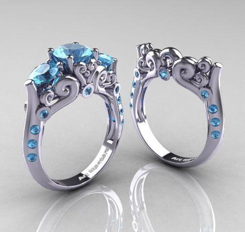 Aquamarine Modern Antique Wedding Ring Vintage bluee Round Cut Three Stone