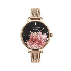 5997204bc Ted Baker Ladies Rose Gold Watch Black Floral Dial Mesh Bracelet ...