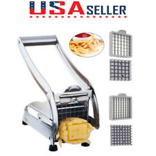 Stainless Steel French Fry Cutter Potato Vegetable Slicer Chopper Dicer w/2Blade