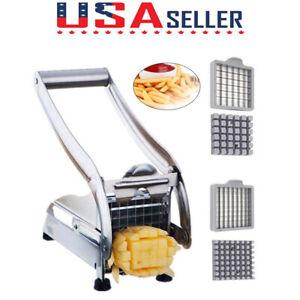 Stainless-Steel-French-Fry-Cutter-Potato-Vegetable-Slicer-Chopper-Dicer-w-2Blade