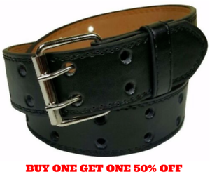 Mens Original Leather Belts in Black with Double Hole Buckle