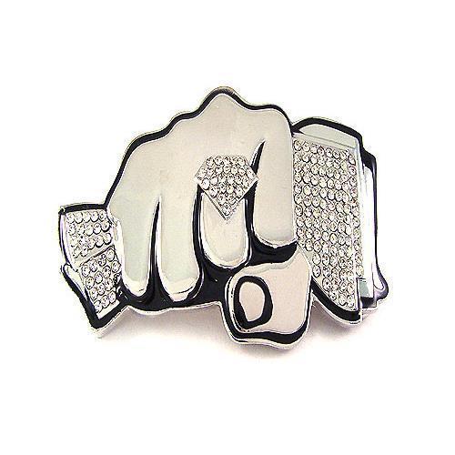 Bling Rhinestones Money Diamond Knuckle Fist Silver Chrome HIP HOP Belt Buckle