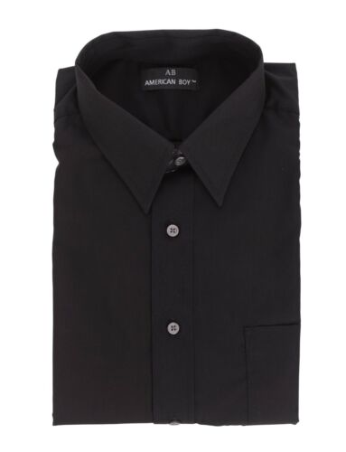 Mens AB Solid Black Cotton Blend Long Sleeve Dress Shirt 14.5 32//33 Size Small