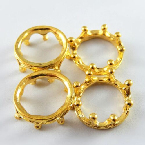 Antique Gold Tone King Crown Ring Alloy Pendants Charms Crafts 19pcs 51904