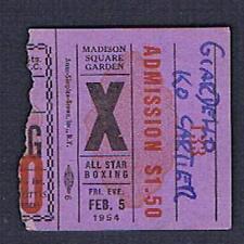 1954 MSG boxing ticket Joey Giardello Drake Rubino Step Moore Cartier Watkins
