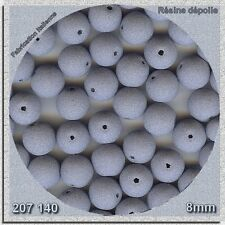 207140 *** 30 perles résine dépolie BLEU-GRIS rondes 8mm