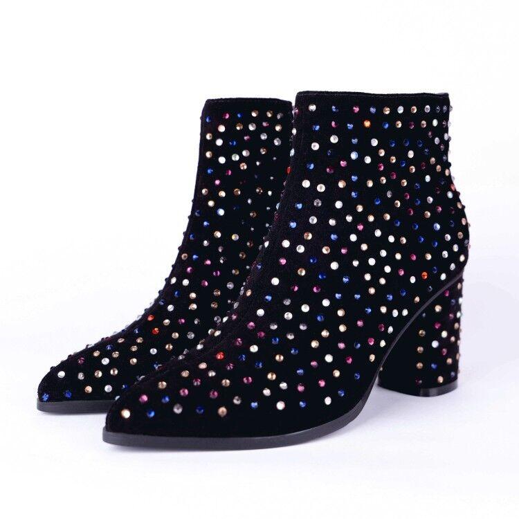 Para Mujer y Dama de moda de cuero de gamuza Diamante Bloque Talón Tobillo botas Zapatos gkek