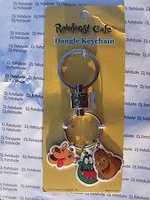 Rainforest Cafe Key Chain with Jaguar, Gorilla, & Crocodile  NEW