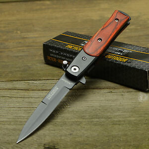 TAC-Force-Lil-039-Milano-Stiletto-Style-Brown-Wood-Handle-Assisted-Open-Knife-New