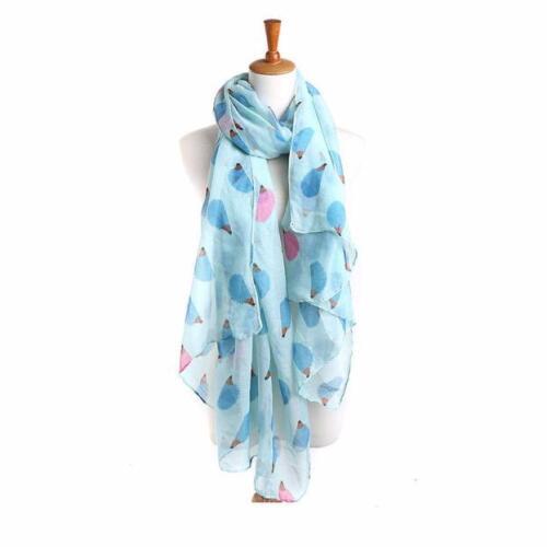Women Butterfly Poppy Flower Print Scarf Hedgehog Fox Dolphin Soft Wrap Shawl